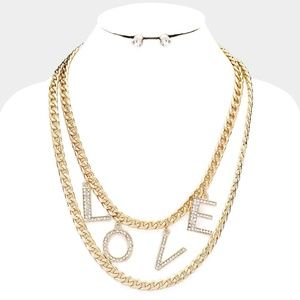 Love Rhinestone Pave Chain Layered Necklace